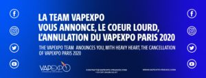 Annulation du salon Vapexpo Paris 2020
